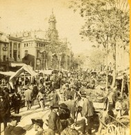 Espagne Valence Valencia Le Marché Tres Anime Ancienne Photo Stereo 1888 - Stereoscopic