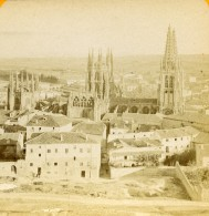 Espagne Burgos Cathedrale Panorama Vue Price Du Chateau Ancienne Photo Stereo 1888 - Stereoscopic