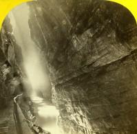 Suisse Alpes Ragaz Gorges De La Tamina Taminaschlucht Pfäfers Ancienne Photo Stereo Fetzer 1875 - Stereoscopic
