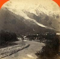 France Alpes Chamonix Panorama Montagne Ancienne Photo Stereo Lamy 1875 - Stereoscopic