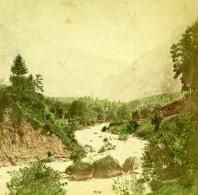 Suisse Alpes Bernoises Vallée Riviere Innerer Fisistock Doldenhorn Ancienne Photo Stereo 1875 - Stereoscopic
