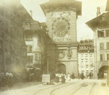 Suisse Berne Tour De L'Horloge Zytglogge Ancienne Photo Stereo Amateur 1900 - Stereoscopic