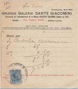 RICEVUTA PRIMI 900 GRANDE GALERIE DANTE GIACOMINI MARCA DA BOLLO (D230 - Italia