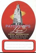 67390 ARGENTINA BUENOS AIRES HOTEL RESIDENCIAL LYON LUGGAGE NO POSTAL POSTCARD - Hotelaufkleber