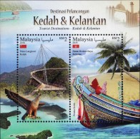Malaysia 2016 S#1610 Tourist Destinations -- Kedah & Kelantan M/S MNH Bridge Bird Eagle Boat Flora Coconut - Malesia (1964-...)