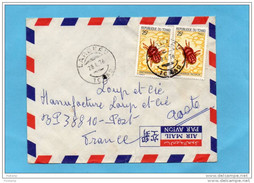 MARCOPHILIE-lettre -Tchad- Cad Largeau 1976-2 -stamp N°291-insect-dinothrobium--dest Françe - Tsjaad (1960-...)