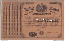 United States International Revenue Stamp For Special Tax Retail Liquor Dealer 25 $ 1879 Doc.130 - Stati Uniti