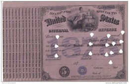 United States International Revenue Stamp For Special Tax  Dealer In Manifactur Tobacco 5 $ 1878 Doc.131 - Stati Uniti