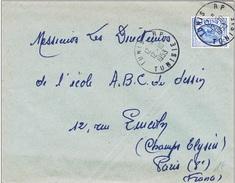 Z] Enveloppe Cover Tunisie Tunisia 1953 Cheval Horse Belle Oblitération Ronde Nice Hand Cancellation - Tunisie (1956-...)