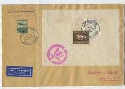 1936 3.Reich Zeppelin Olympiafahrt Bordpost Brief Block 4 + Mi 607 SI 427A Seltene Blockfrankatur - Deutschland