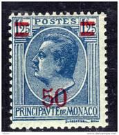 Monaco N° 108 XX  :  Timbres Surchargés : 50 Sur  1 F. 25 Bleu Sur Azuré Sans Charnière  TB - Monaco