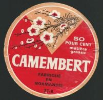 Ancienne étiquette Fromage  Camembert  Normandie   Branches Arbre En Fleurs - Formaggio