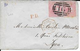 MAURITIUS - 1871 - PAIRE 4p Sur ENVELOPPE Avec N° 16 => LYON Avec CACHET MARITIME PAQUEBOT Par SUEZ - Mauricio (...-1967)