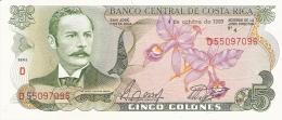 COSTA RICA   5 Colones   4/10/1989   P. 236d   UNC - Costa Rica