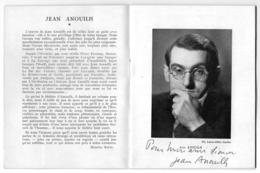 """Bel Autographe Original à L'encre De Jean ANOUILH Sur Programme De Sa Pièce """"ARDELE"""" à La COMEDIE Des CHAMPS-ELYSEES - Autografi"""