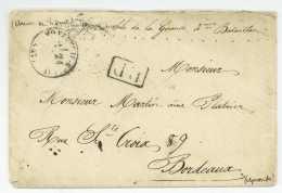 GUERRE FRANCO-ALLEMANDE DE 1870-1871 - ARMEE DE L'OUEST - Montreuil-Bellay 1871 Pour Bordeaux Gironde - Marcophilie (Lettres)