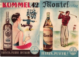 1 Brochure Pub Montel Cognac Kummel 42 Rhum Destilerias Montplet Barcelona   GOLF  Advertising Brochure - Golf