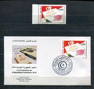 TUNISIA 2014 CONSTITUTION TUNISIA STAMP + FDC MNH - Tunisia