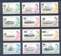 TRISTAN DA CUNHA SERIE 12v DEFINITIVES 1971 OVERPRINT SURCHARGED 1965 STAMPS * SAILING SHIPS BATEAUX BRITANNIA * MNH - Ships