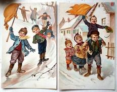 Lot 2x Litho Couleur ILLUSTRATEUR Style Arthur THIELE ?  NS Enfants Enfants Porte Drapeau Marche Jeu Neige - Thiele, Arthur