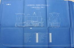 Beau Plan Des Ateliers De Tubize Train Locomotive Tender Type 0-4-0 - Chemin De Fer