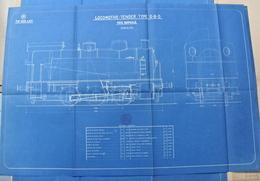Beau Plan Des Ateliers De Tubize Nivelles Train Locomotive Tender Type 0-6-0 - Chemin De Fer