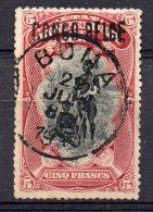 CONGO -COB 38L-  5F   SURCH LOCALE  L5 - OBL - Plié - Folded -  BB7 - 1894-1923 Mols: Oblitérés