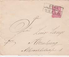 Allemagne Cachet Rectangulaire Gera Sur Entier Postal - Germany