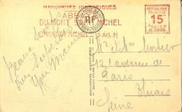 """EMA HAVAS B""""0895 15c  MONUMENTS HISTORIQUES ABBAYE DU MONT SAINT MICHEL = MONT ST MICHEL = 15 JUIL 31 - EMA (Printer Machine)"""