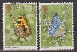 Faune, Insectes - GRANDE BRETAGNE - Papillons: Aglis Urticae, Maculinea Arion - 1981 - 1952-.... (Elizabeth II)