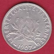France 1 Franc Semeuse Argent 1907 - France