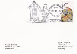 USA Card P/m Marietta, Ohio 1987 US Constotution 200th Years (T10-15) - Unabhängigkeit USA
