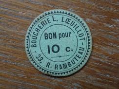 BOUCHERIE L. LOEULLOT, 23 R. RAMBUTEAU, - Monetari / Di Necessità