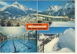 Grüsse Aus MITTENWALD; Mehrbildkarte Mit Hallenbad, Panorama , Gel. - Mittenwald