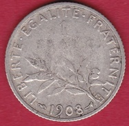France 1 Franc Semeuse Argent 1908 - France
