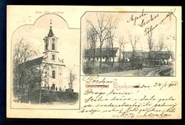 Udvozlet Szakcs / Rom. Kath. Templom / Long Line Postcard Circulated, 2 Scans - Ungheria