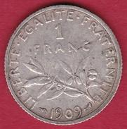 France 1 Franc Semeuse Argent 1909 - France