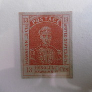 Timbre  Etats  Unis  D Amerique  1853   13C ROUGE  KAMEHAMEHA  III - Hawaii