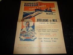AFFICHE PUBLICITAIRE DE PROPAGANDE MANGEZ DU POISSON BOULOGNE SUR MER AU DOS LE NOM DES MAISONS BOULONNAISE DOCUMENT (2) - Posters