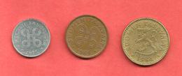 LOT De 3 Monnaies , FINLANDE , SUOMEN TASAVALTA , De 1964 à 1975 - Finlande
