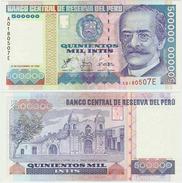 PERU - SCARCE 500 000 500000 INTIS NOTE W/ SILVER THREAD 1988 - UNC - Pérou