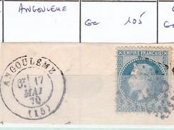 CHARENTE - S/29 - 20c Bleu - Napoleon III Lauré  - Oblit  GC  105  (    Angouleme ) - Marcophilie (Timbres Détachés)