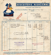 FACTURE BISCUITERIE ALSACIENNE MAISONS ALFORT DE 1937 - Alimentaire