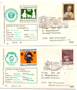 4 Lettres_Ballon Post_ERGEE III_Weihnachts Christkindel 1969, 1970,1971,1975_Autriche - Covers & Documents