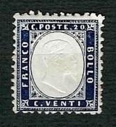 ITALIA 1862 - Effigie Di Vittorio Emanuele II In Rilievo - 20 C. Indaco - MH - Sassone 2 - 1861-78 Vittorio Emanuele II