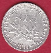 France 1 Franc Semeuse Argent 1911 - H. 1 Franc