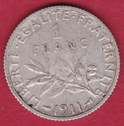 France 1 Franc Semeuse Argent 1911 - France