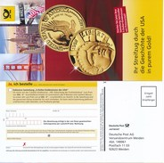 BRD Weiden Entg. Zahlt Empfänger Antwort 2017 DP - Ganzsache USA-Goldmünzen Freiheitsstatue Seeadler - BRD