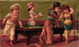 3 Cards Pub A La Ville De Cluny   Chocolat Poulain   Boisson & Fils  BILJART   Billard  Children Playing  Billiards - Billares