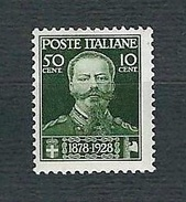 ITALIA 1929 - Cinquantenario Della Morte Di Vittorio Emanuele II - 50 C. + 10 C. Verde Oliva - MNH - Sassone 239 - Nuovi